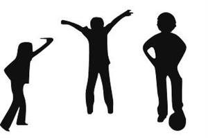 Silhouettes of children playing/exercising